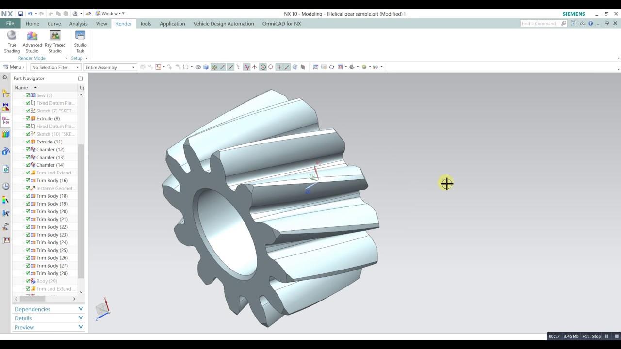 Siemens Nx tutorial Helical gear simple CAD design in NX simens 10
