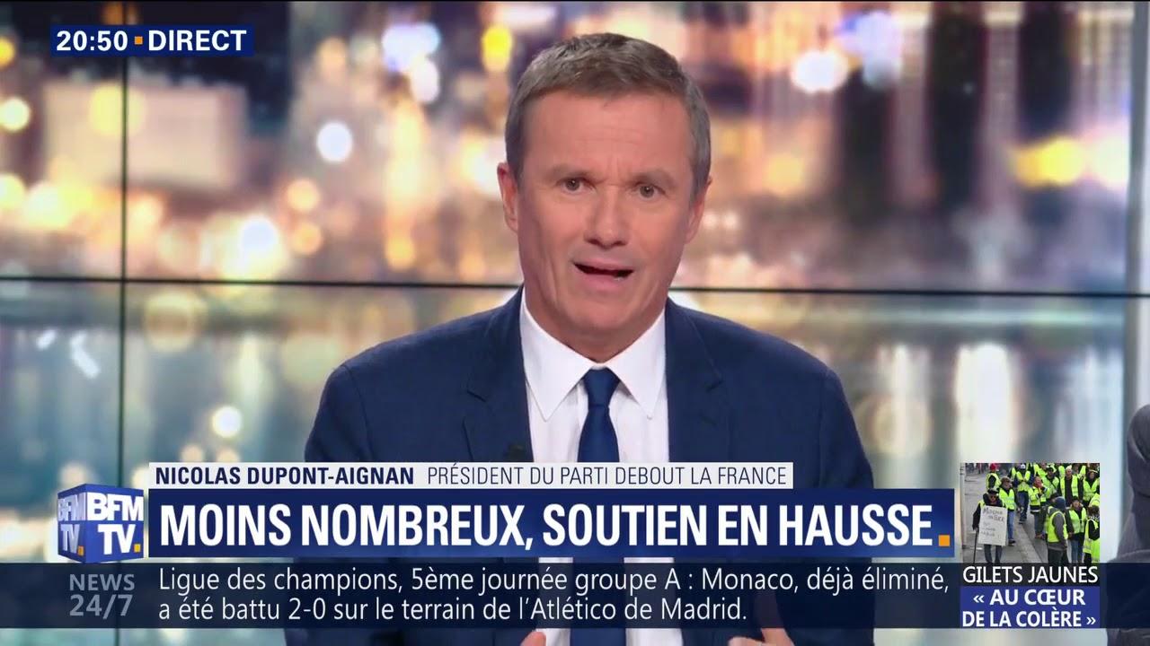 Gilets Jaunes : Nicolas Dupont-Aignan sur BFMTV