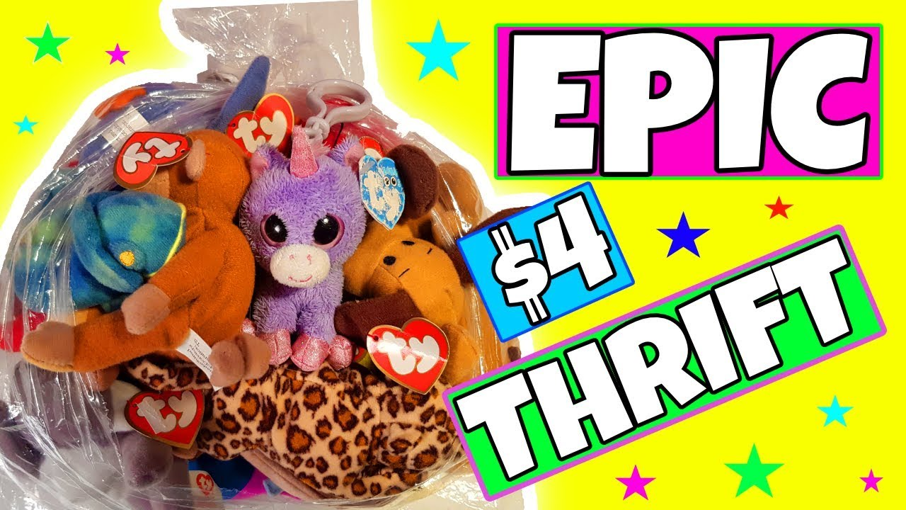 Epic rare TY beanie boo and beanie baby thrift haul ( 4 dollars for a whole  bag of TYs 😲😲) 26bc9ef809a