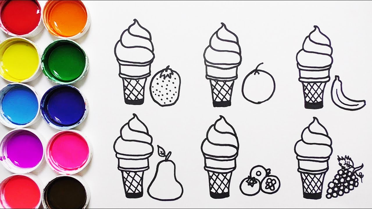 Dibujar Y Colorear Helados De Frutas Dibujos Para Niños Leran Colors With Fruits Funkeep