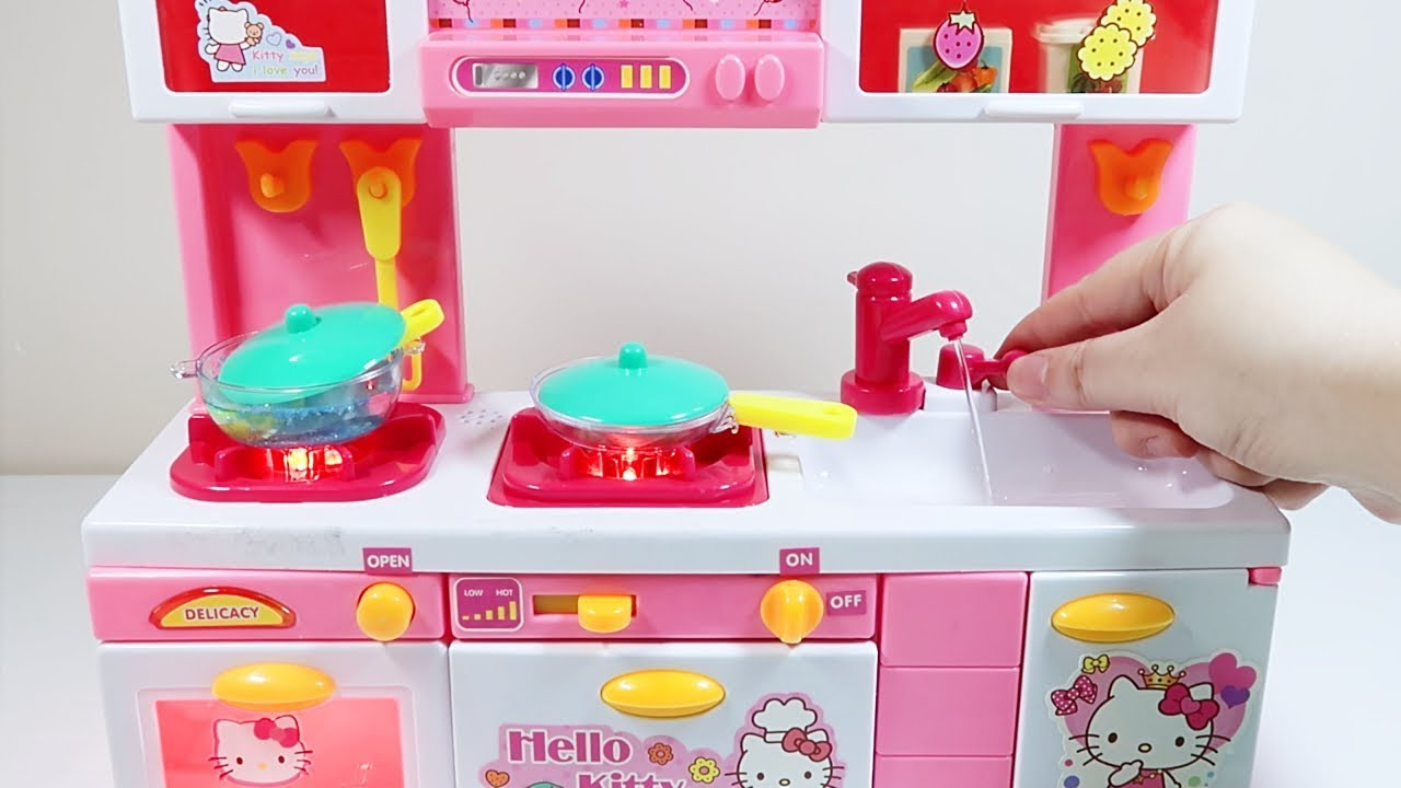 c44804140 Hello Kitty Modern Kitchen With Electric Water Pumper Cooking Toys For Kids