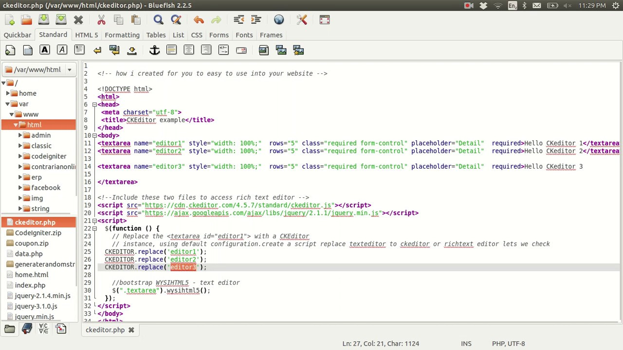 Programming World: wysiwyg html editor use ckeditor to input