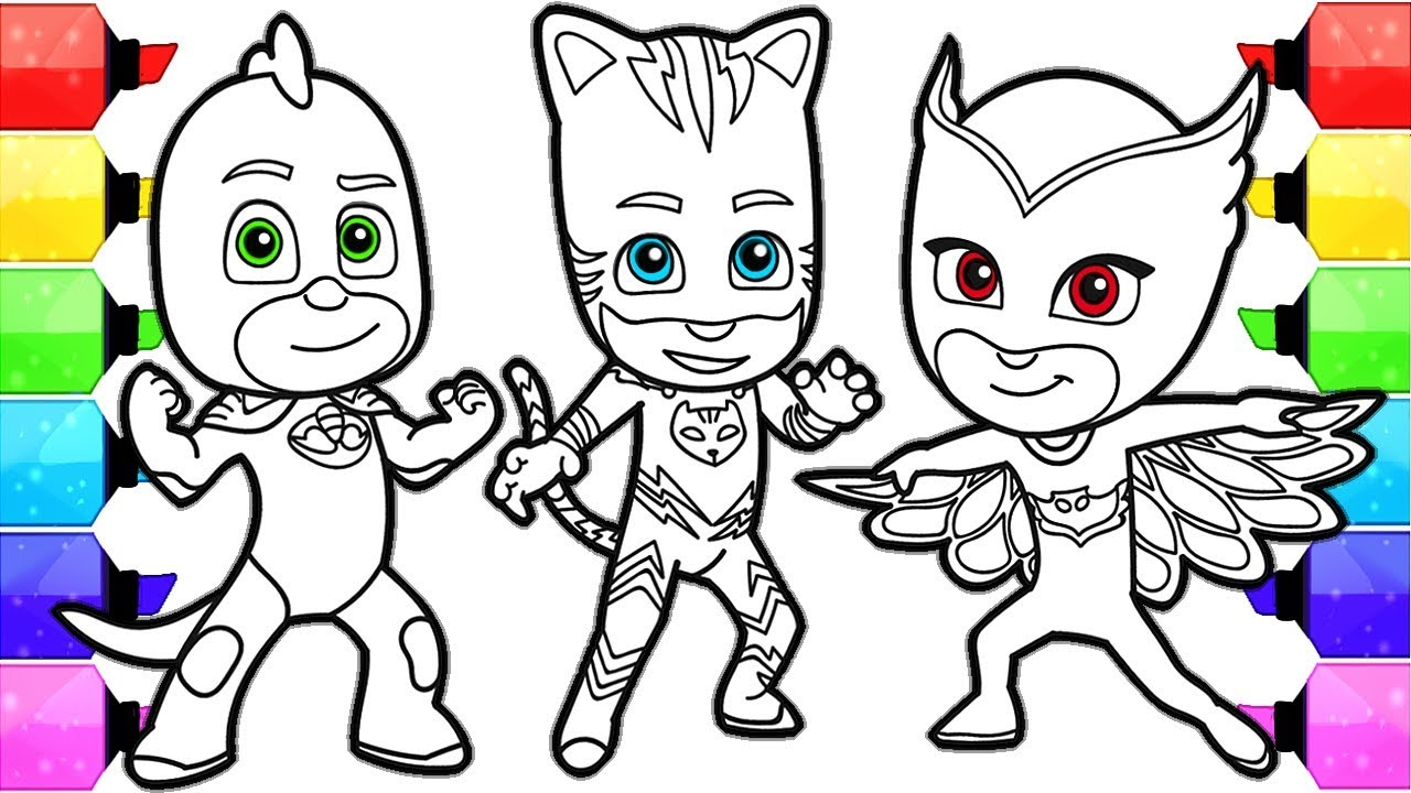 pj masks coloring pages how to draw and color catboy gekko and owlette pj masks coloring book