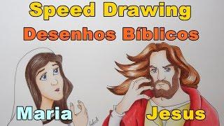 Speed Drawing Jesus e Maria Desenhos Bíblicos