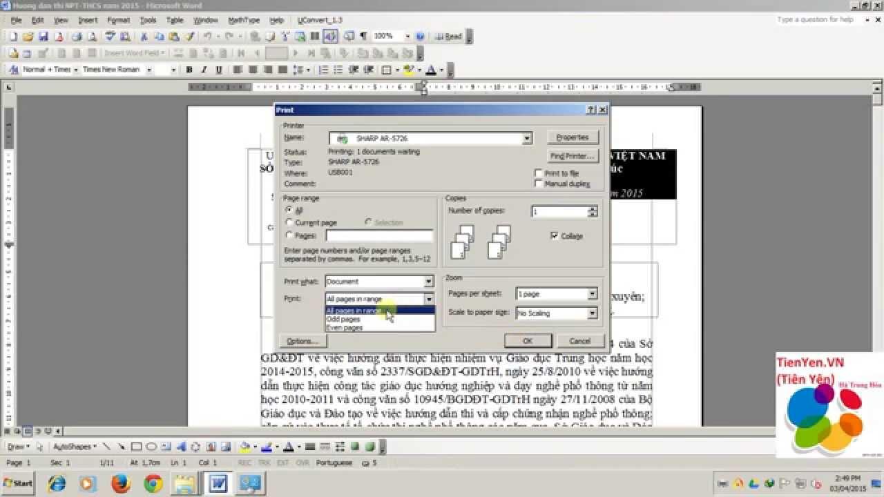 Video hướng dẫn In trang chẵn, trang lẻ trong Microsoft Office Word 2003