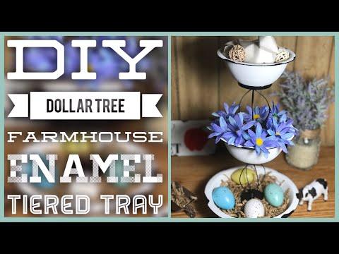 DIY Dollar Tree Farmhouse Enamel 3 Tiered Tray - Farmhouse Rustic Decor Tier Tray