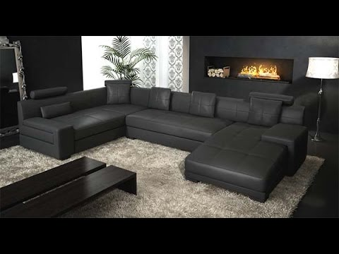 Black Leather Sectional Couch - YouTube