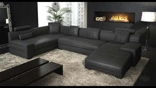 Black Leather Sectional Couch