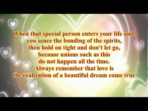 Wedding - Soulmates in love - Poem - song Greatest Love Of All romance