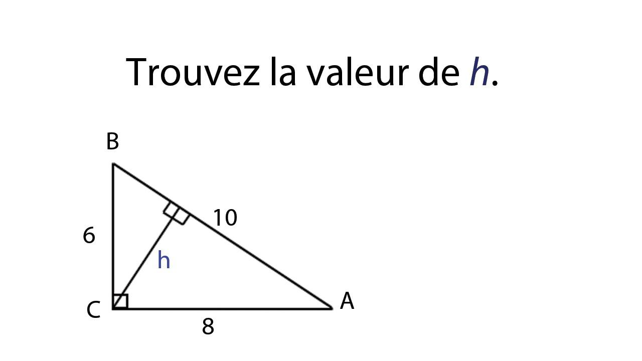 Exercice aire triangle rectangle, trouver une hauteur