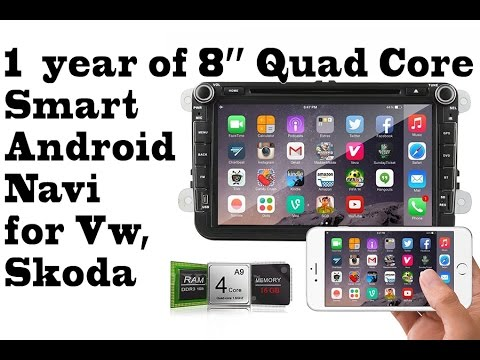 1 year of 8'' Quad Core Android Smart Navigation, DVR, BT, gps, 3g, integrated WIFI for Vw, Skoda