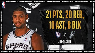 Tim Duncan's monster night (21p/20r/10a/8b) in GM 6 of 03' Finals |  Nets @ Spurs | #NBATogetherLive