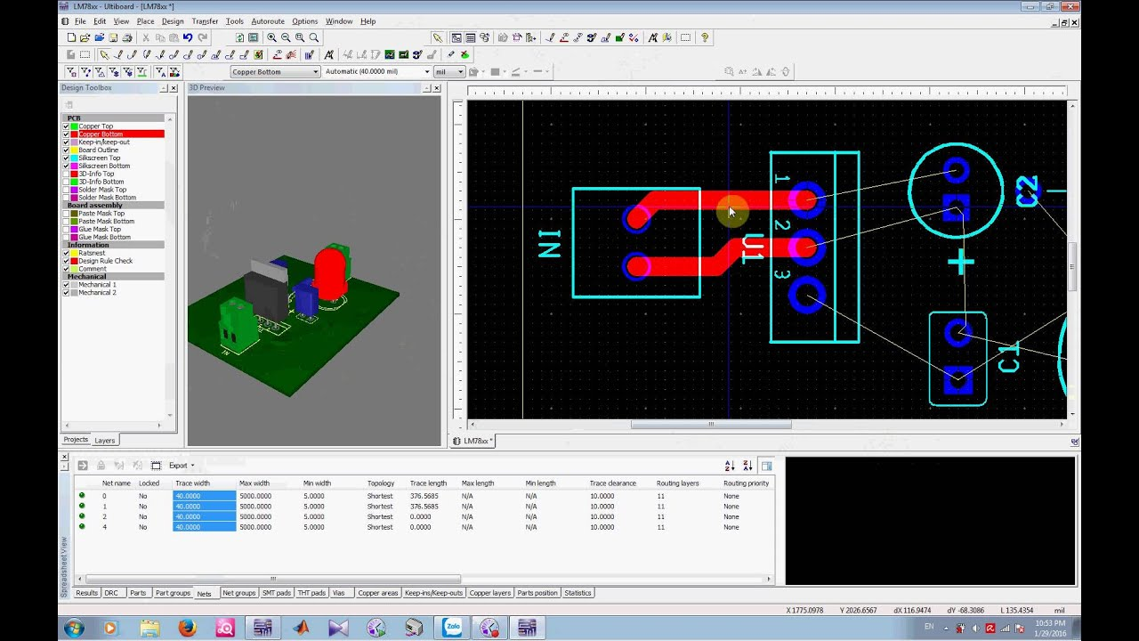 Transfer From Multisim To Ultiboard And View 3d Circuit Youtube Schematic Software