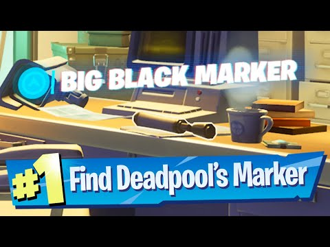 Find Deadpools Big Black Marker Location - Fortnite Battle Royale