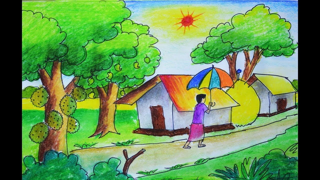 summer season scenery drawing, how to draw village summer ...