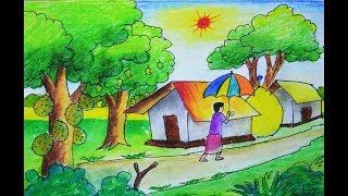 summer season scenery drawing, how to draw village summer season scenery