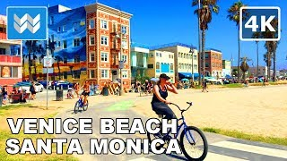 🚴 Venice Beach ● Santa Monica ● Pacific Palisades - Virtual Cycling Bike Ride - California USA 【4K】