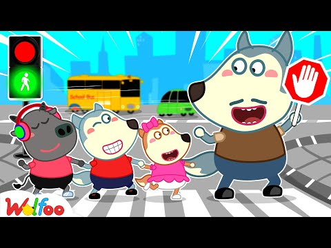 Dad Teaches Wolfoo How to Cross the Street Safely - Learn Kids Safety Tips on Road   Wolfoo Channel