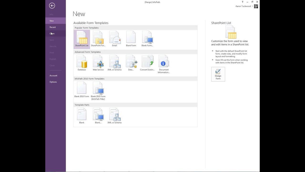 Open InfoPath Designer