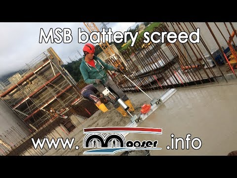 Screed concrete with the Mooser MSB battery portable concrete vibratory screed slab