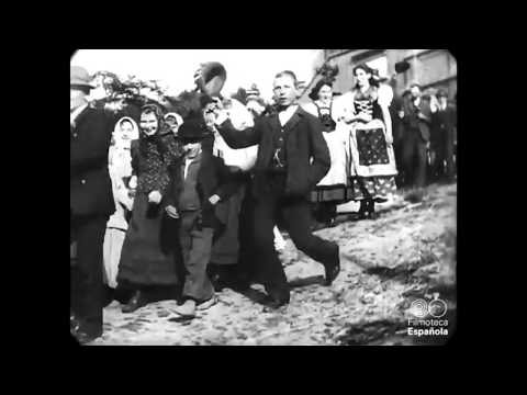 1897 - Group leaving church in Bohemia, Czech Republic (speed corrected w/ added sound)