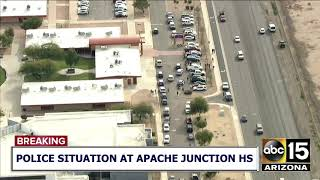 RAW VIDEO: Large police presence outside Apache Junction High School