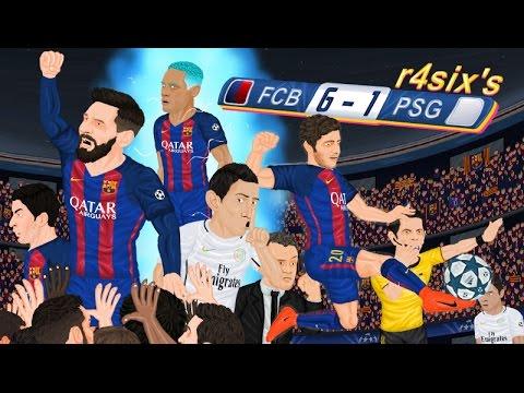 Parodia animada del Barcelona 6-1 PSG de Champions League 8/3/2017