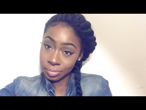natural hair styles with marley hair goddess flat twist braid with braiding hair how to 8432 | hqdefault