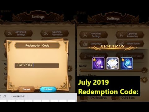 AFK ARENA July 2019 1000 Free Diamonds from Redemption Codes