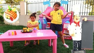 Elif Öykü and Masal playing Cafe , Funny Kids Video Oyuncakoynuyorum