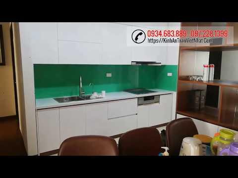 Kính ốp bếp - Kính ốp bếp màu xanh ngọc T.G.C thi công tại chung cư Homeland Long Biên - Hà Nội