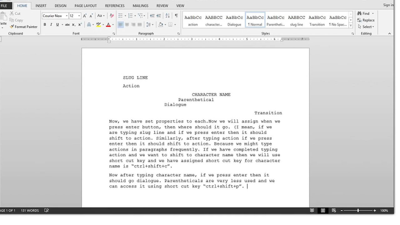how to create a screenwriting template in ms word 2013 youtube
