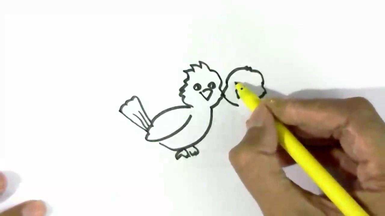 How To Draw Love Birds Easy Steps For Children Beginners Youtube