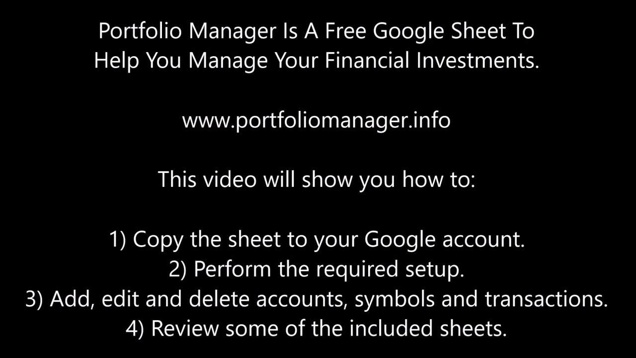 free google spreadsheet to manage your investments youtube
