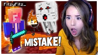 First Time in Minecraft NETHER - Fitz and Pokimane Part 8!