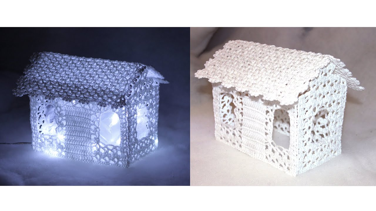 Lace crochet house decoration with lights - YouTube