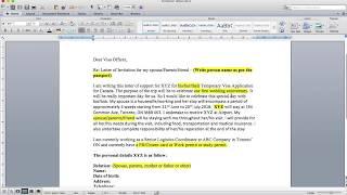 Visitor Visa Invitation Letter