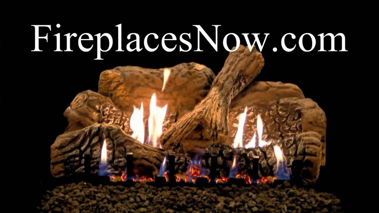 empire charred oak ceramic vented vent free gas log set youtube