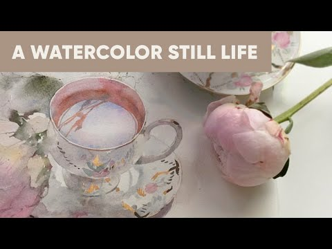Flowers and a cup in watercolor — Work in progress — Still life