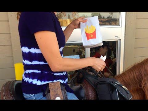 McDonalds: 'drive-thru' vs 'ride-thru' with a horse!