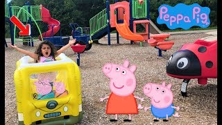 Sally Pretend play with magic Peppa Pig Bus at the playground park