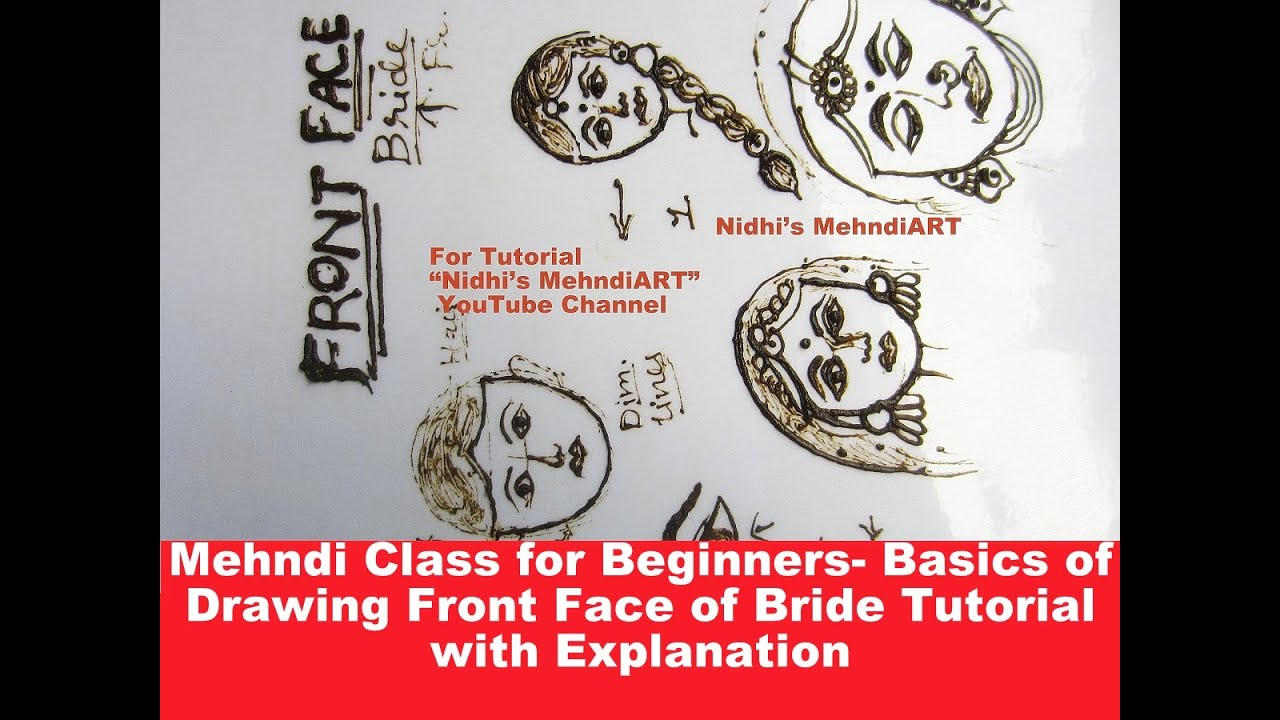 Mehndi Drawing Tutorial : Mehndi class for beginners basics of drawing front face