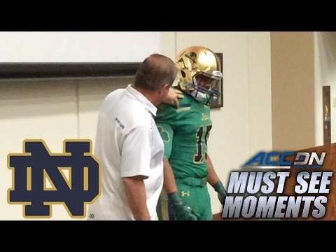 Notre Dame's Kelly Surprises Walk-On With Scholarship | ACC Must See Moment