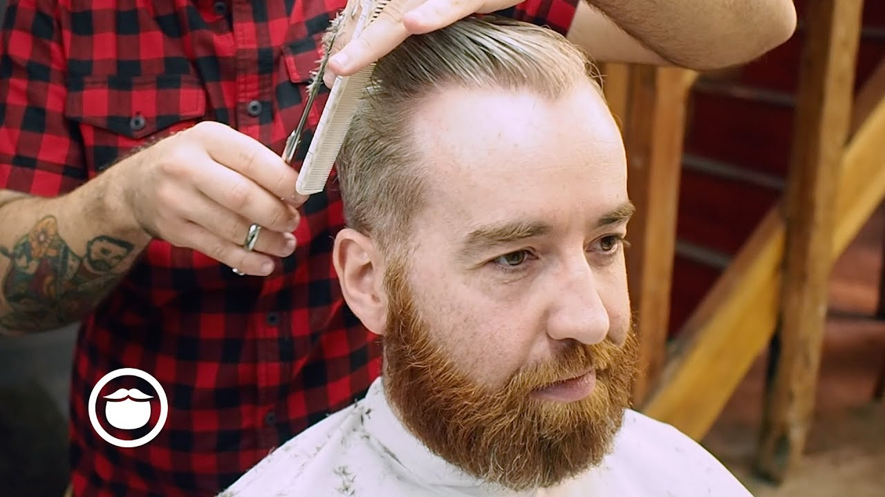 Mens Side Part Haircut With A Classic Beard Trim Youtube