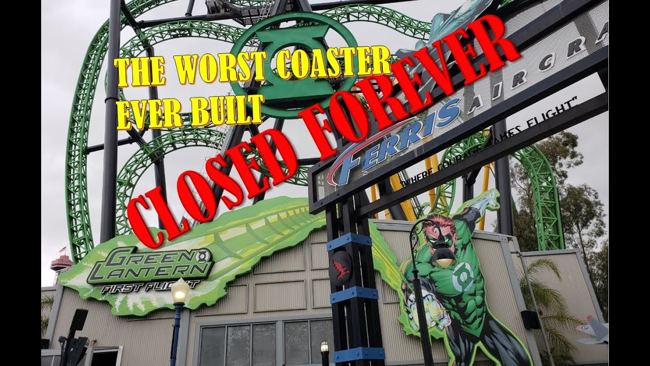 Download Worst Coaster Ever Built is Closed Forever: Green Lantern First Flight at Six Flags Magic Mountain