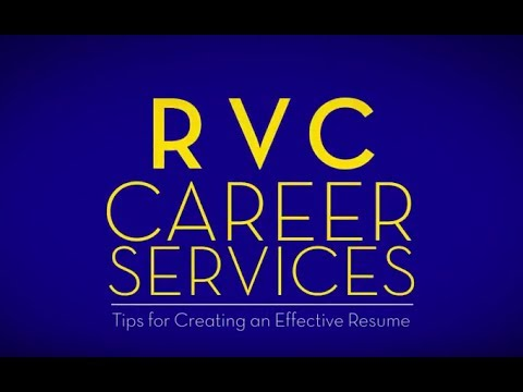 RVC Career Services - Tips for Creating an Effective Resume - YouTube