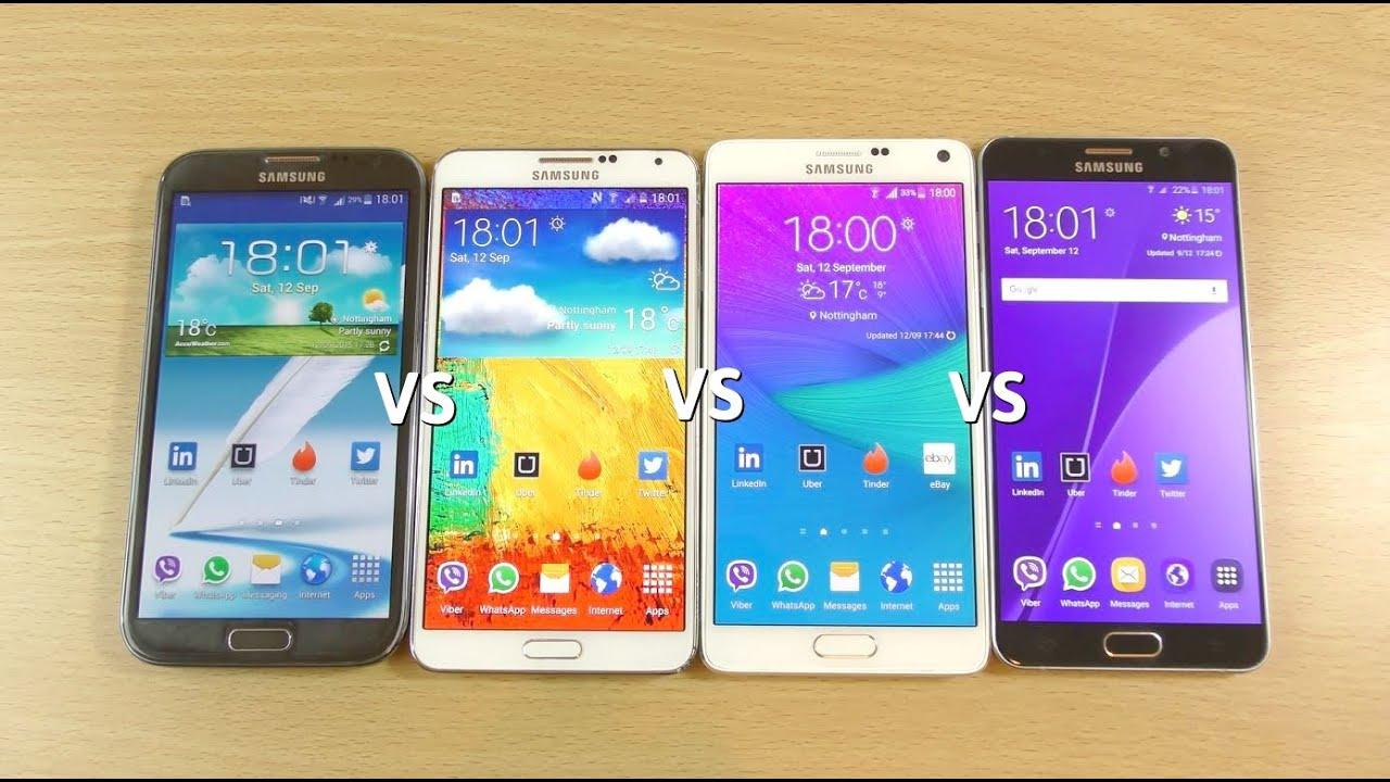 Samsung galaxy note 5 vs note 4 vs note 3 vs note 2 speed test