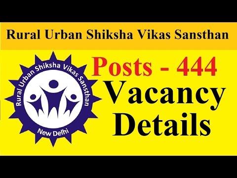 Rural Urban Shiksha Vikas Sansthan total  Posts - 444 | Vacancy Details | New Delhi |