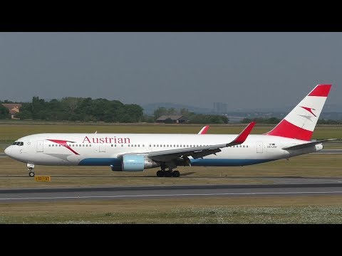 Austrian Airlines Boeing 767 landing at Vienna Airport | OE-LAW