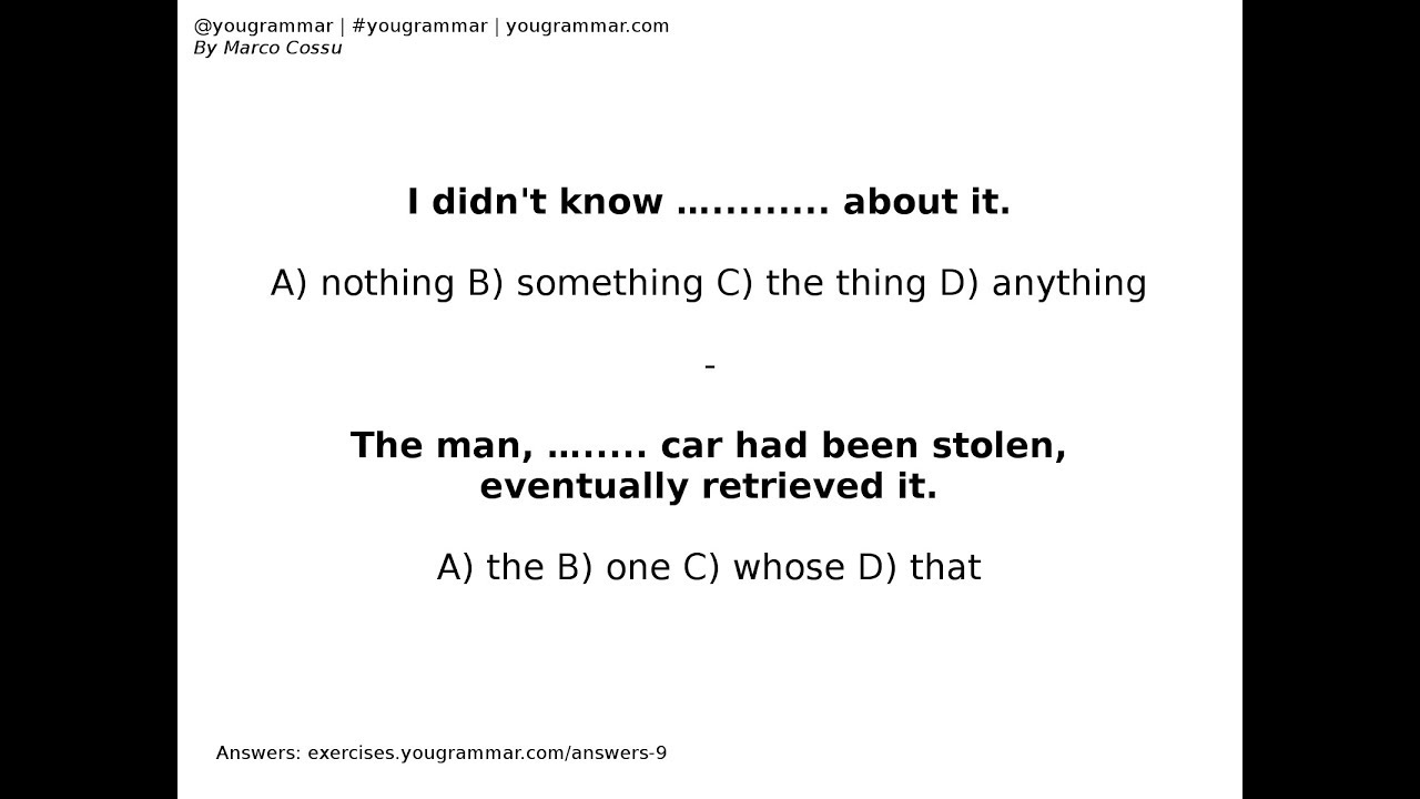 Exercise 9 - Pronouns - English Grammar Exercises - Indefinite - Relative -  Quiz - Quizzes